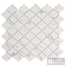 Snow White Arabesque Glass Mosaic Tiles for Bathroom